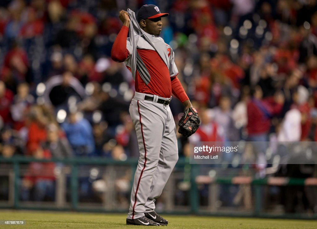 Pitcher <a gi-track='captionPersonalityLinkClicked' href=/galleries/search?phrase=Rafael+Soriano&family=editorial&specificpeople=587892 ng-click='$event.stopPropagation()'>Rafael Soriano</a> #29 of the Washington Nationals reacts after earning a save in the ninth inning against the Philadelphia Phillies on May 2, 2014 at Citizens Bank Park in Philadelphia, Pennsylvania.