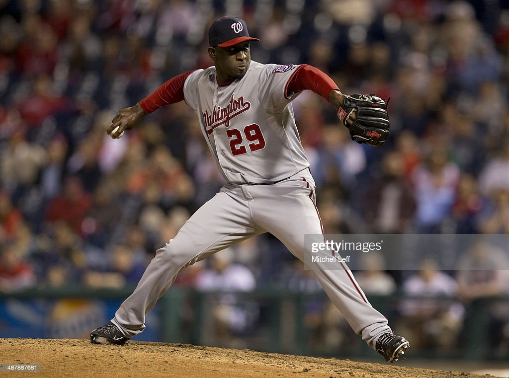 Pitcher Rafael Soriano #29 of the Washington Nationals throws a pitch in the ninth inning against the Philadelphia Phillies on May 2, 2014 at Citizens Bank Park in Philadelphia, Pennsylvania.