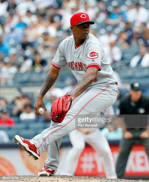 Pitcher Raisel Iglesias of the Cincinnati Reds pitches in an interleague MLB baseball game against the New York Yankees on July 26 2017 at Yankee...