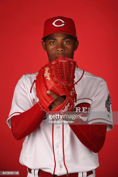 Pitcher Raisel Iglesias of the Cincinnati Reds poses for a portait during a MLB photo day at Goodyear Ballpark on February 18 2017 in Goodyear Arizona