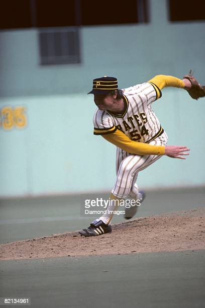 Pitcher Rich 'Goose' Gossage of the Pittsburgh Pirates follows through on a pitch during a game in 1977 at Three Rivers Stadium in Pittsburgh...