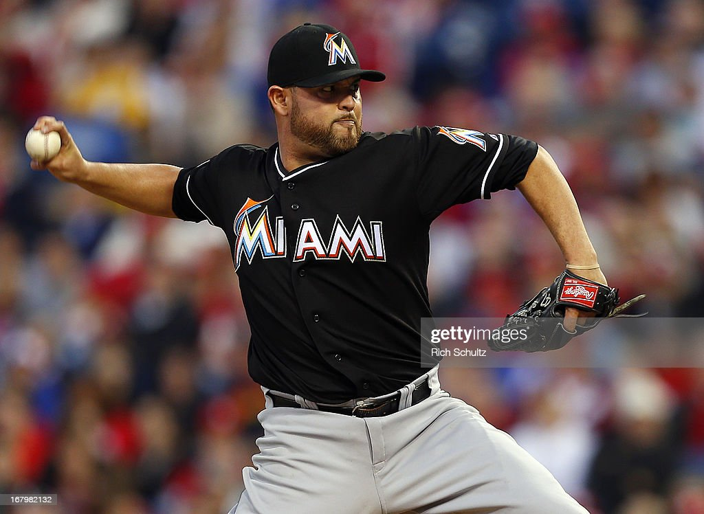 Pitcher <a gi-track='captionPersonalityLinkClicked' href=/galleries/search?phrase=Ricky+Nolasco&family=editorial&specificpeople=600111 ng-click='$event.stopPropagation()'>Ricky Nolasco</a> #47 of the Miami Marlins delivers a pitch against the Philadelphia Phillies in a MLB baseball game on May 3, 2013 at Citizens Bank Park in Philadelphia, Pennsylvania.