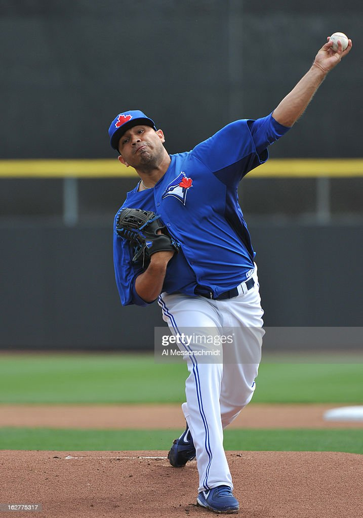 Pitcher <a gi-track='captionPersonalityLinkClicked' href=/galleries/search?phrase=Ricky+Romero&family=editorial&specificpeople=809221 ng-click='$event.stopPropagation()'>Ricky Romero</a> #24 of the Toronto Blue Jays starts against the Minnesota Twins February 26, 2013 at the Florida Auto Exchange Stadium in Dunedin, Florida.