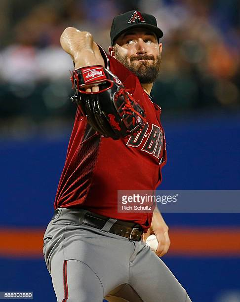 Pitcher Robbie Ray of the Arizona Diamondbacks delivers a pitch against the New York Mets in the second inning during a game at Citi Field on August...