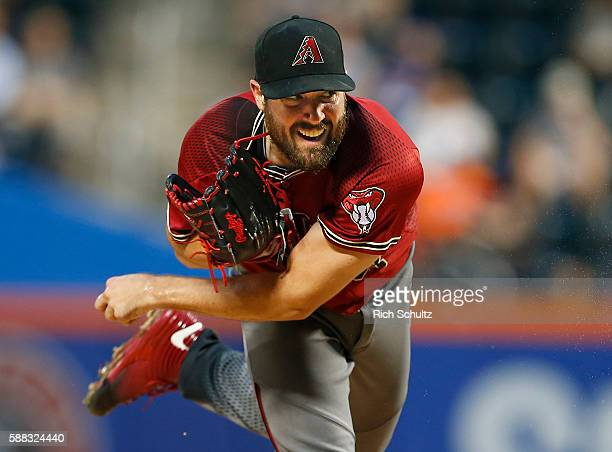 Pitcher Robbie Ray of the Arizona Diamondbacks delivers a pitch against the New York Mets in the first inning during a game at Citi Field on August...