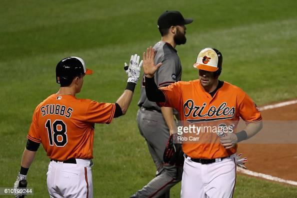 Pitcher Robbie Ray of the Arizona Diamondbacks looks on as Matt Wieters of the Baltimore Orioles celebrates scoroing with teammate Drew Stubbs during...