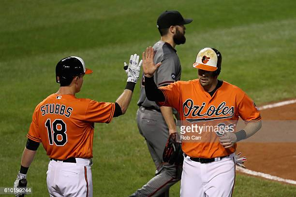 Pitcher Robbie Ray of the Arizona Diamondbacks looks on as Matt Wieters of the Baltimore Orioles celebrates scoroing with teammate Drew Stubbs during...