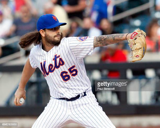 Pitcher Robert Gsellman of the New York Mets pitches during an MLB baseball game against the Washington Nationals on June 15 2017 at CitiField in the...