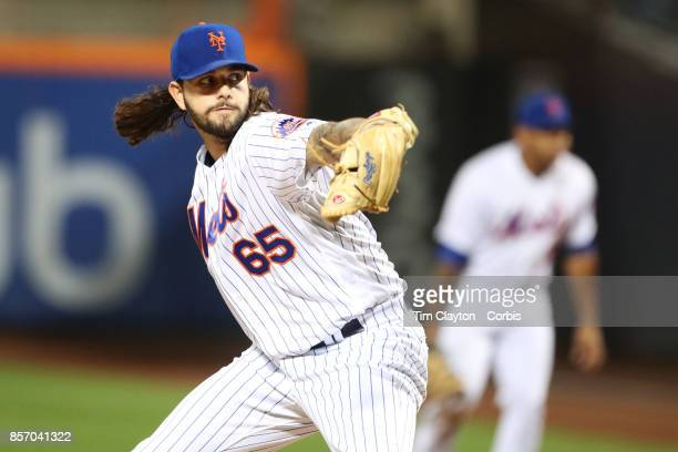 Pitcher Robert Gsellman of the New York Mets pitching during the Washington Nationals Vs New York Mets MLB regular season game at Citi Field Flushing...