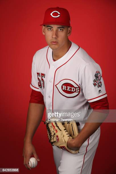 Pitcher Robert Stephenson of the Cincinnati Reds poses for a portait during a MLB photo day at Goodyear Ballpark on February 18 2017 in Goodyear...