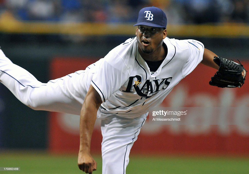Pitcher Roberto Hernandez #40 of the Tampa Bay Rays celebrates after pitching 8 innings against the Boston Red Sox June 11, 2013 at Tropicana Field in St. Petersburg, Florida. The Rays won 8 - 3.