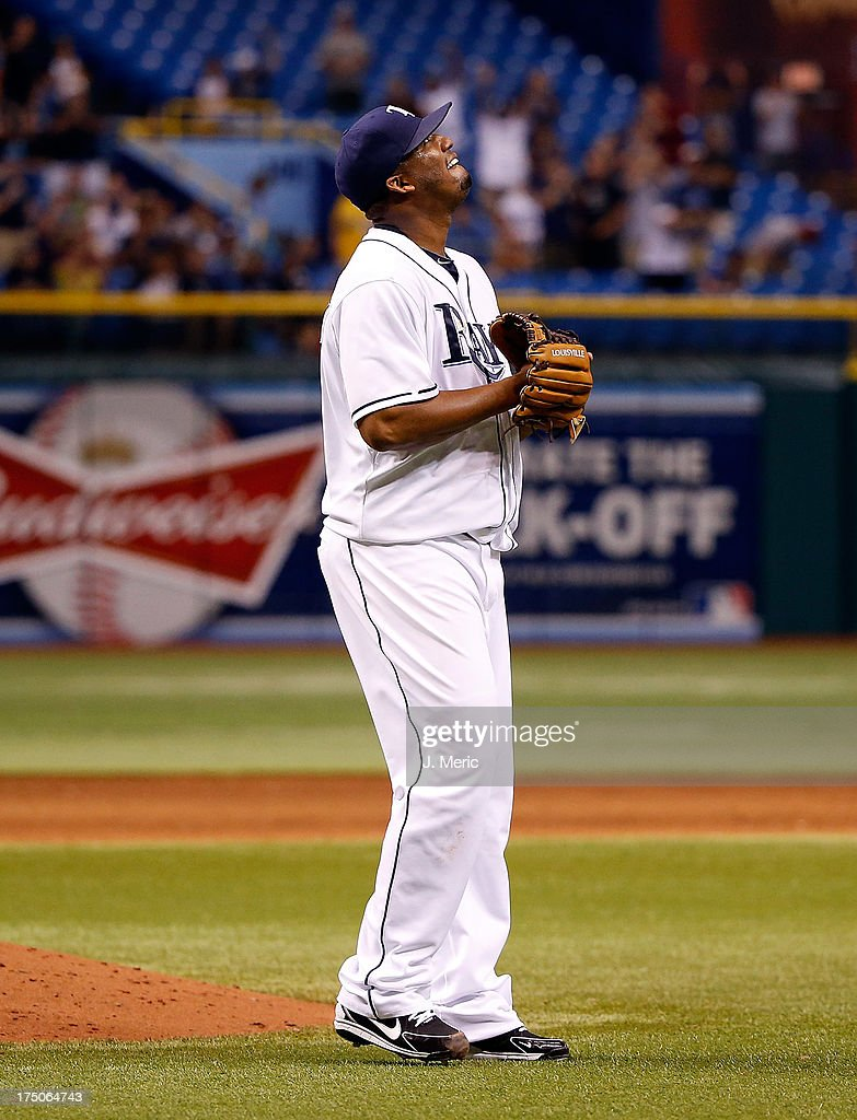 Pitcher Roberto Hernandez #40 of the Tampa Bay Rays celebrates his complete game victory over the Arizona Diamondbacks at Tropicana Field on July 30, 2013 in St. Petersburg, Florida.