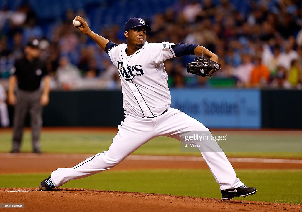 Pitcher Roberto Hernandez #40 of the Tampa Bay Rays pitches against the Toronto Blue Jays during the game at Tropicana Field on May 7, 2013 in St. Petersburg, Florida.