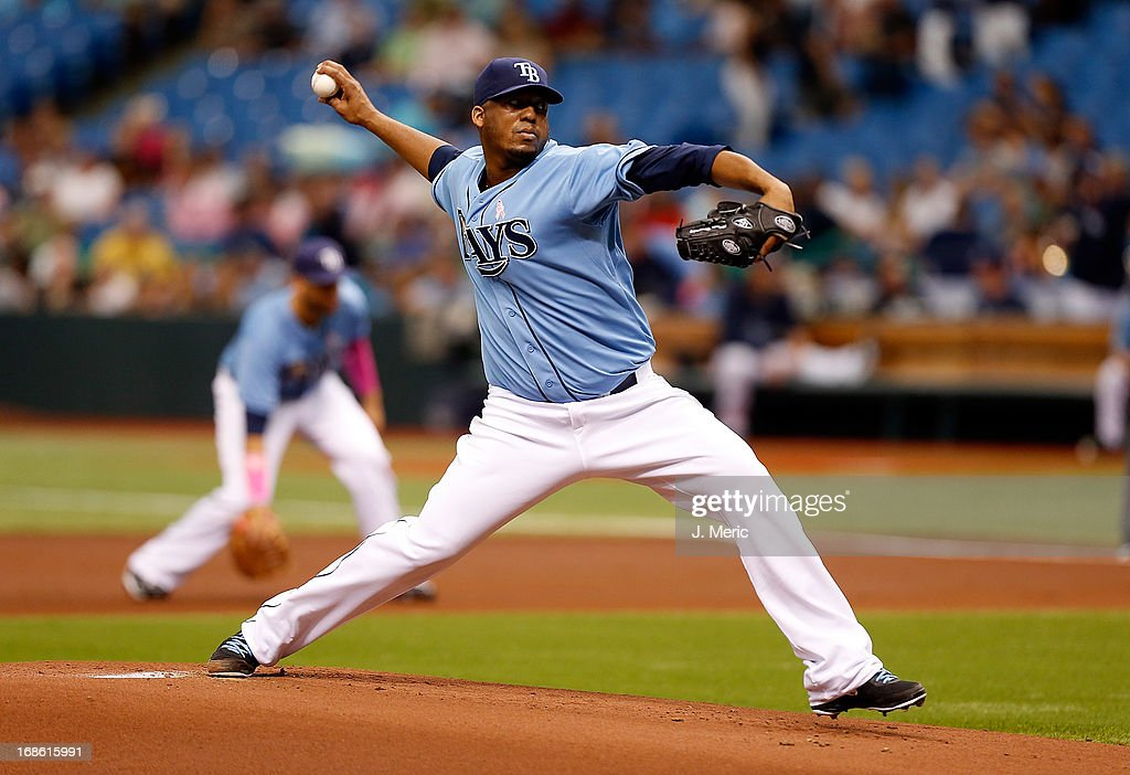 Pitcher Roberto Hernandez #40 of the Tampa Bay Rays pitches against the San Diego Padres during the game at Tropicana Field on May 12, 2013 in St. Petersburg, Florida.