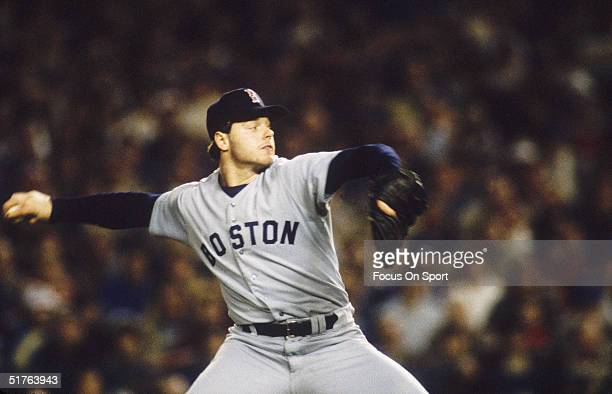 Pitcher Roger Clemens of the Boston Red Sox pitches during the World Series against the New York Mets at Shea Stadium on October 1986 in Flushing New...