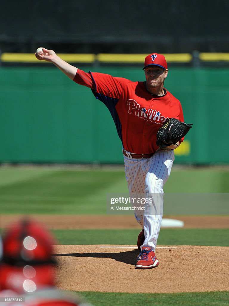 Pitcher <a gi-track='captionPersonalityLinkClicked' href=/galleries/search?phrase=Roy+Halladay&family=editorial&specificpeople=208782 ng-click='$event.stopPropagation()'>Roy Halladay</a> #34 of the Philadelphia Phillies pitches against the Washington Nationals March 6, 2013 at Bright House Field in Clearwater, Florida.