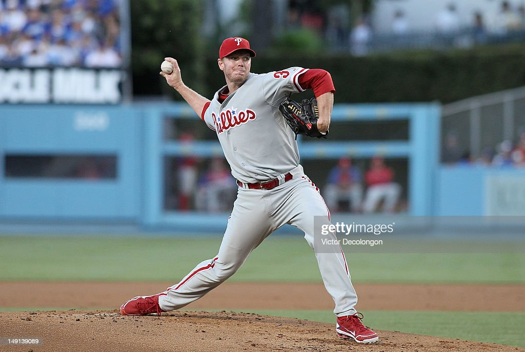 Pitcher <a gi-track='captionPersonalityLinkClicked' href=/galleries/search?phrase=Roy+Halladay&family=editorial&specificpeople=208782 ng-click='$event.stopPropagation()'>Roy Halladay</a> #34 of the Philadelphia Phillies pitches during the MLB game against the Los Angeles Dodgers at Dodger Stadium on July 17, 2012 in Los Angeles, California. The Phillies defeated the Dodgers 3-2.