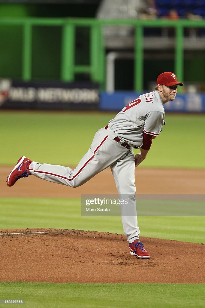 Pitcher <a gi-track='captionPersonalityLinkClicked' href=/galleries/search?phrase=Roy+Halladay&family=editorial&specificpeople=208782 ng-click='$event.stopPropagation()'>Roy Halladay</a> #34 of the Philadelphia Phillies throws against the Miami Marlins at Marlins Park on September 23, 2013 in Miami, Florida. The Marlins defeated the Phillies 4-0.