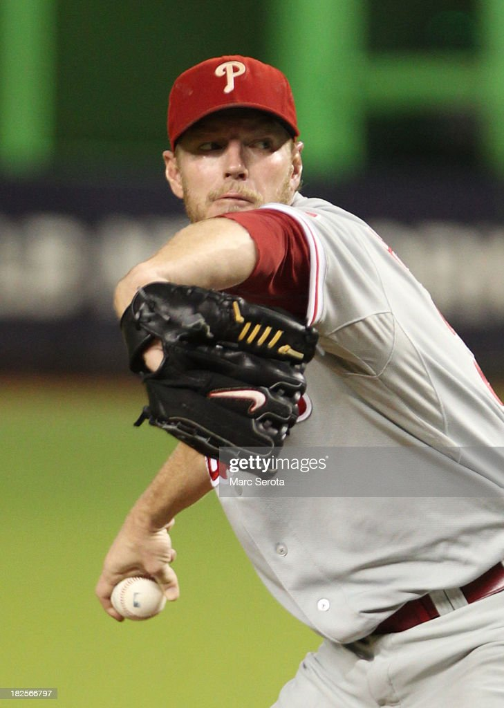 Pitcher Roy Halladay #34 of the Philadelphia Phillies throws against the Miami Marlins at Marlins Park on September 23, 2013 in Miami, Florida. The Marlins defeated the Phillies 4-0.