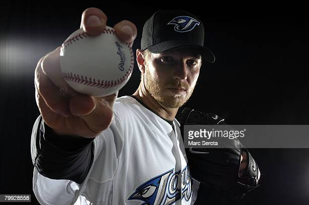 Pitcher Roy Halladay of the Toronto Blue Jays poses for a photo on media day during spring training at the Bobboy Mattix Traing Center February 22...