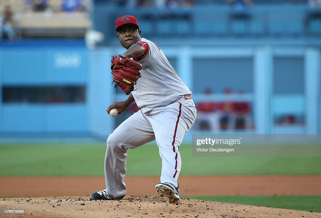 Pitcher Rubby De La Rosa of the Arizona Diamondbacks pitches in the first inning during the MLB game at Dodger Stadium on June 8 2015 in Los Angeles...
