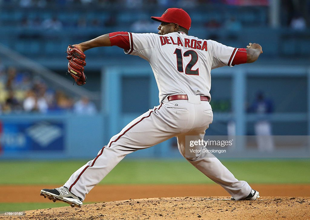 Pitcher Rubby De La Rosa of the Arizona Diamondbacks pitches in the second inning during the MLB game at Dodger Stadium on June 8 2015 in Los Angeles...