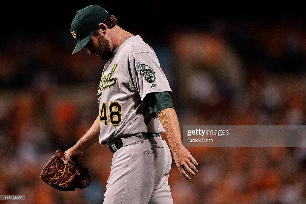 Pitcher Ryan Cook #48 of the Oakland Athletics walks off the mound after giving up two runs against the Baltimore Orioles in the seventh inning at Oriole Park at Camden Yards on August 23, 2013 in Baltimore, Maryland. The Baltimore Orioles won, 9-7.