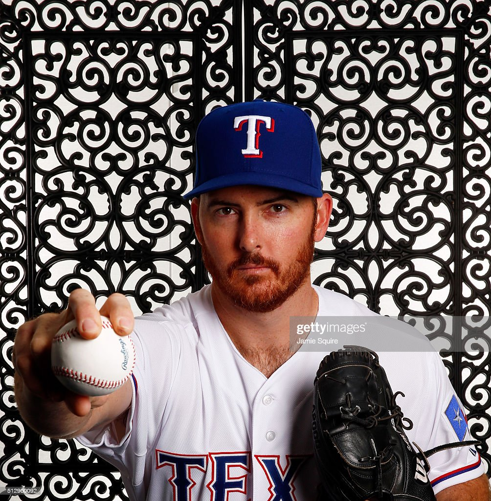 Pitcher Sam Dyson #47 of the Texas Rangers poses during a spring training photo shoot on February 28, 2016 in Surprise, Arizona.