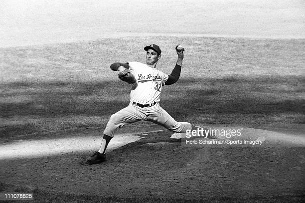 Pitcher Sandy Koufax of the Los Angeles Dodgers pitches during a World Series game against the New York Yankees at Yankee Stadium on October 3 1963...