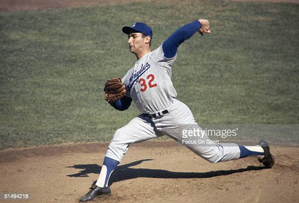 Pitcher Sandy Koufax of the Los Angeles Dodgers uncorks a pitch during the 1960s