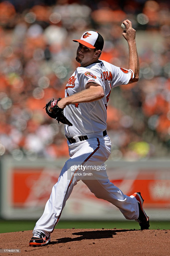 Pitcher <a gi-track='captionPersonalityLinkClicked' href=/galleries/search?phrase=Scott+Feldman&family=editorial&specificpeople=540379 ng-click='$event.stopPropagation()'>Scott Feldman</a> #34 of the Baltimore Orioles pitches in the first inning against the Oakland Athletics at Oriole Park at Camden Yards on August 25, 2013 in Baltimore, Maryland.