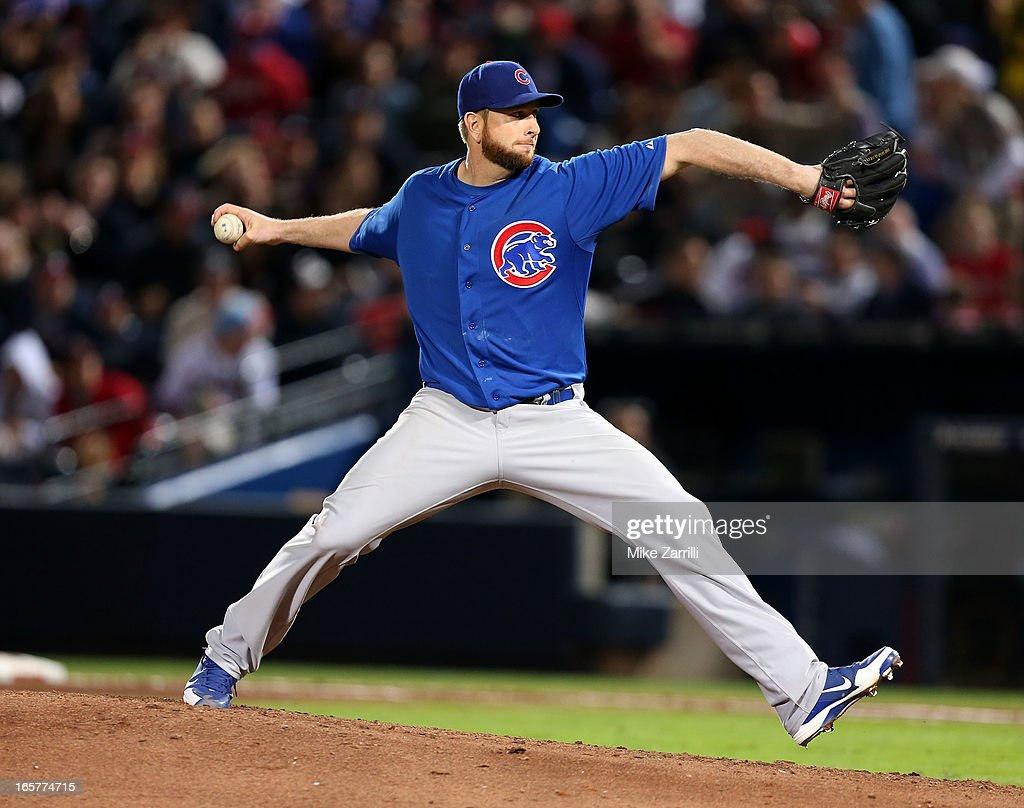 Pitcher <a gi-track='captionPersonalityLinkClicked' href=/galleries/search?phrase=Scott+Feldman&family=editorial&specificpeople=540379 ng-click='$event.stopPropagation()'>Scott Feldman</a> #46 of the Chicago Cubs throws a pitch during the game against the Atlanta Braves at Turner Field on April 5, 2013 in Atlanta, Georgia.