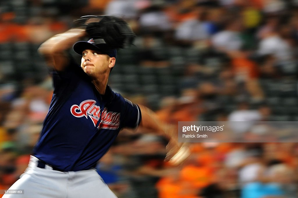 Pitcher <a gi-track='captionPersonalityLinkClicked' href=/galleries/search?phrase=Scott+Kazmir&family=editorial&specificpeople=217724 ng-click='$event.stopPropagation()'>Scott Kazmir</a> #26 of the Cleveland Indians works the fifth inning against the Baltimore Orioles at Oriole Park at Camden Yards on June 26, 2013 in Baltimore, Maryland.