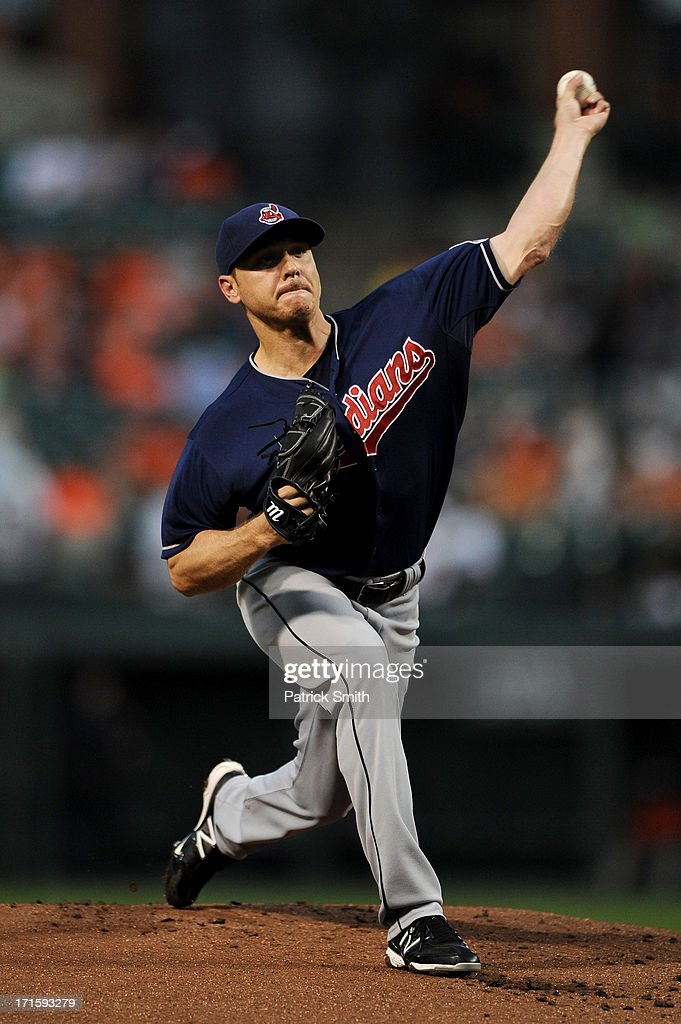 Pitcher <a gi-track='captionPersonalityLinkClicked' href=/galleries/search?phrase=Scott+Kazmir&family=editorial&specificpeople=217724 ng-click='$event.stopPropagation()'>Scott Kazmir</a> #26 of the Cleveland Indians works the first inning against the Baltimore Orioles at Oriole Park at Camden Yards on June 26, 2013 in Baltimore, Maryland.