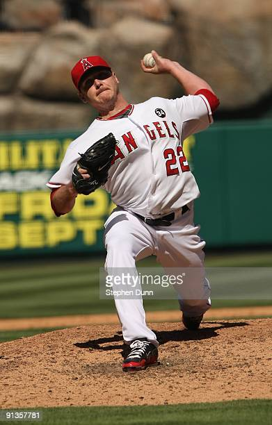 Pitcher Scott Kazmir of the Los Angeles Angels of Anaheim throws a pitch against the New York Yankees on September 23 2009 at Angel Stadium in...
