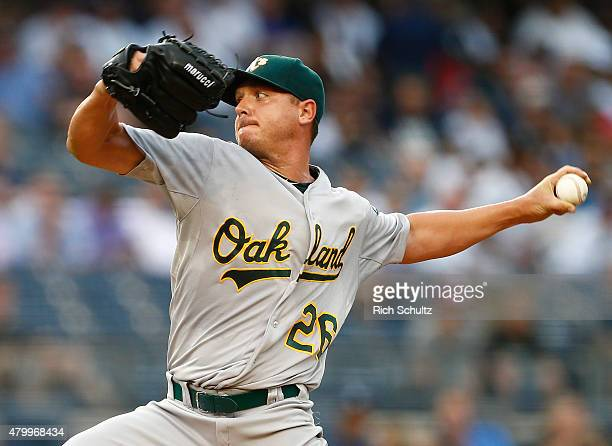 Pitcher Scott Kazmir of the Oakland Athletics delivers a pitch against the New York Yankees during the first inning of a MLB baseball game at Yankee...