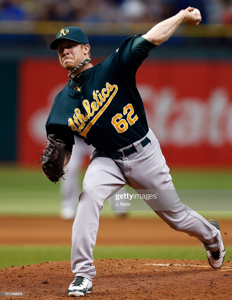 Pitcher Sean Doolittle #62 of the Oakland Athletics pitches against the Tampa Bay Rays during the game at Tropicana Field on August 25, 2012 in St. Petersburg, Florida.