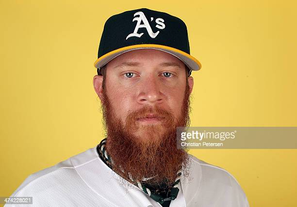 Pitcher Sean Doolittle of the Oakland Athletics poses for a portrait during the spring training photo day at Phoenix Municipal Stadium on February 22...