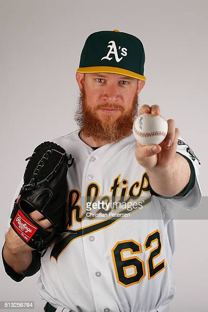 Pitcher Sean Doolittle of the Oakland Athletics poses for a portrait during the spring training photo day at HoHoKam Stadium on February 29 2016 in...
