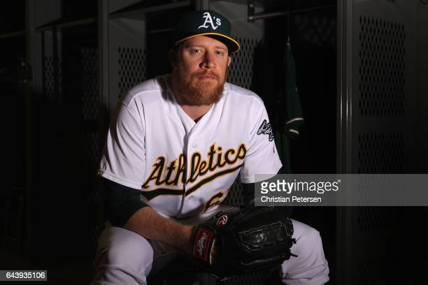 Pitcher Sean Doolittle of the Oakland Athletics poses for a portrait during photo day at HoHoKam Stadium on February 22 2017 in Mesa Arizona