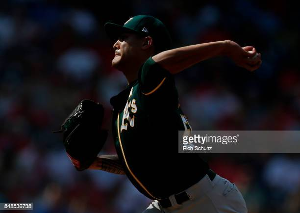 Pitcher Sean Manaea of the Oakland Athletics delivers a pitch against the Philadelphia Phillies during the fourth inning of a game at Citizens Bank...