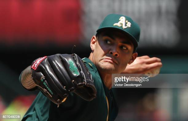 Pitcher Sean Manaea of the Oakland Athletics pitches in the third inning during the MLB game against the Los Angeles Angels of Anaheim at Angel...