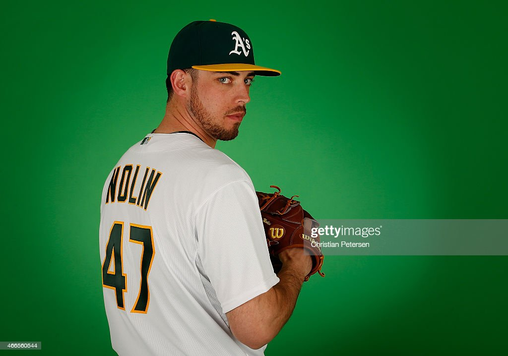Pitcher Sean Nolin of the Oakland Athletics poses for a portrait during the spring training photo day at HoHoKam Stadium on February 28 2015 in Mesa...
