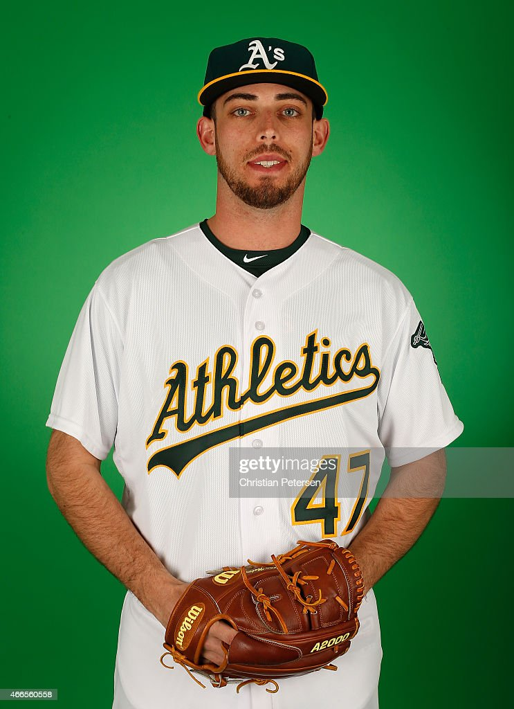 Pitcher <a gi-track='captionPersonalityLinkClicked' href=/galleries/search?phrase=Sean+Nolin&family=editorial&specificpeople=10568211 ng-click='$event.stopPropagation()'>Sean Nolin</a> #47 of the Oakland Athletics poses for a portrait during the spring training photo day at HoHoKam Stadium on February 28, 2015 in Mesa, Arizona.
