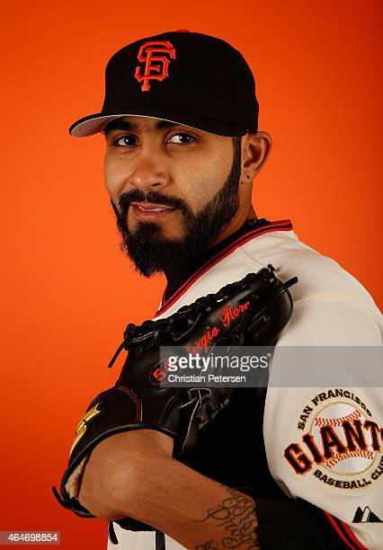 Pitcher Sergio Romo of the San Francisco Giants poses for a portrait during spring training photo day at Scottsdale Stadium on February 27 2015 in...