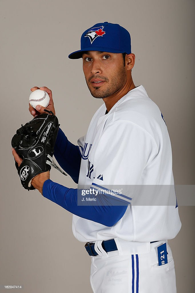 Pitcher Sergio Santos #21 of the Toronto Blue Jays poses for a photo during photo day at Florida Auto Exchange Stadium on February 18, 2013 in Dunedin, Florida.