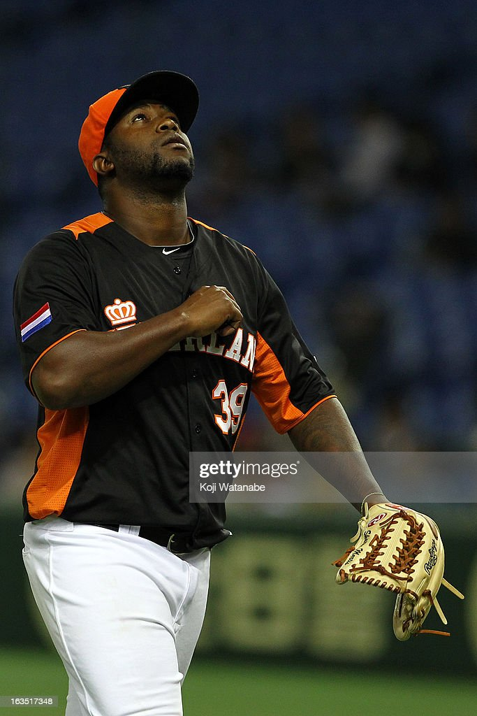 Pitcher Shairon Martis #39 of the Netherlands in action during the World Baseball Classic Second Round Pool 1 game between Cuba and the Netherlands at Tokyo Dome on March 11, 2013 in Tokyo, Japan.