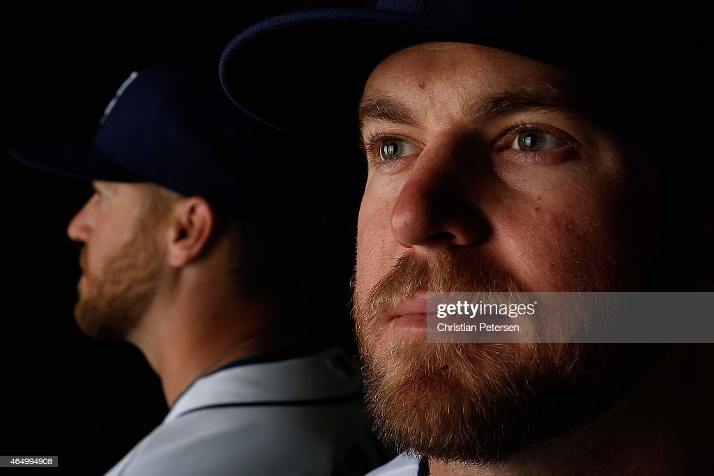 Pitcher Shawn Kelley #56 of the San Diego Padres poses for a portrait during spring training photo day at Peoria Stadium on March 2, 2015 in Peoria, Arizona.