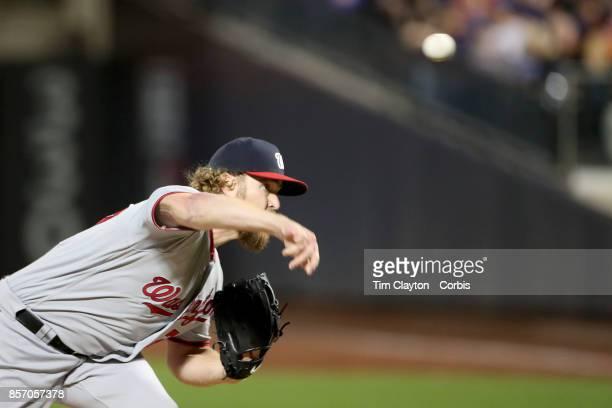 Pitcher Shawn Kelley of the Washington Nationals pitching during the Washington Nationals Vs New York Mets MLB regular season game at Citi Field...