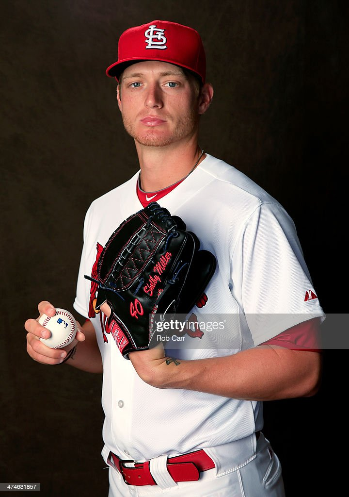 Pitcher <a gi-track='captionPersonalityLinkClicked' href=/galleries/search?phrase=Shelby+Miller&family=editorial&specificpeople=4761626 ng-click='$event.stopPropagation()'>Shelby Miller</a> #40 of the St. Louis Cardinals poses for a portrait during photo day at Roger Dean Stadium on February 24, 2014 in Jupiter, Florida.